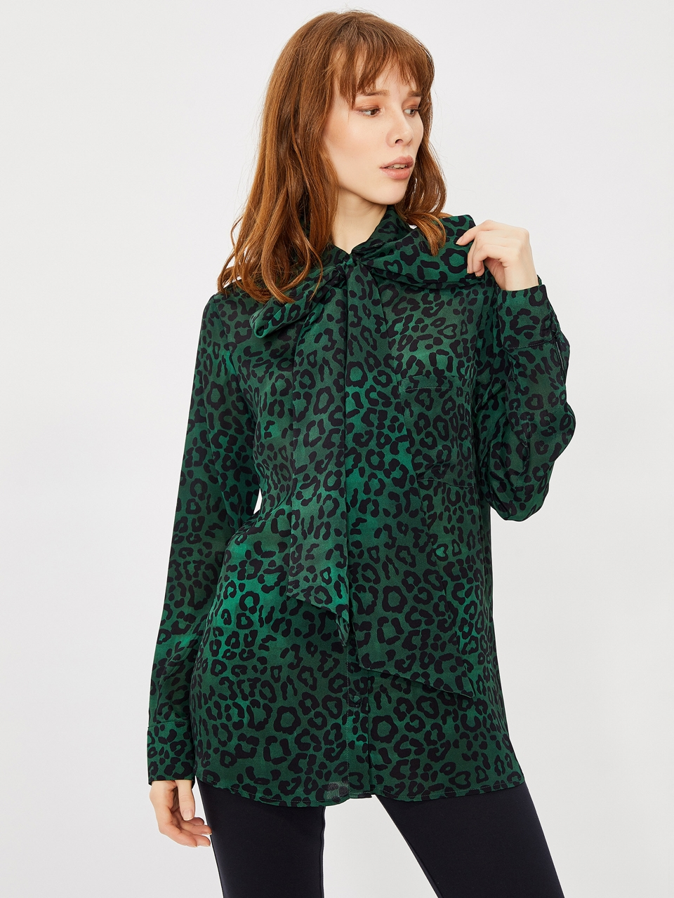 Tie Neck Shirt With Leopard Pattern