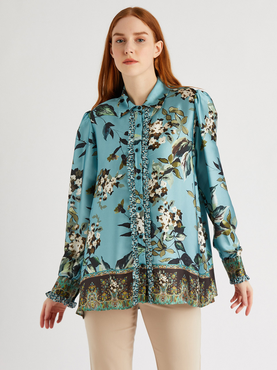 Floral Patterned Shirt With Frilly Details