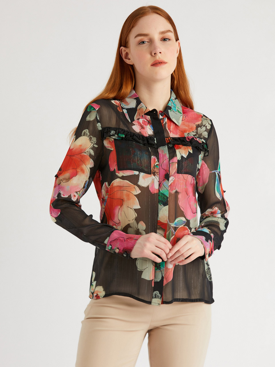 Ruffle Detail Floral Patterned Shirt