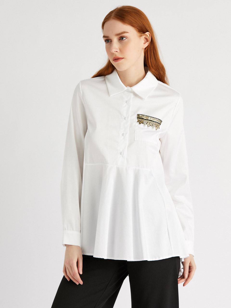 Stone Detail Cotton Shirt