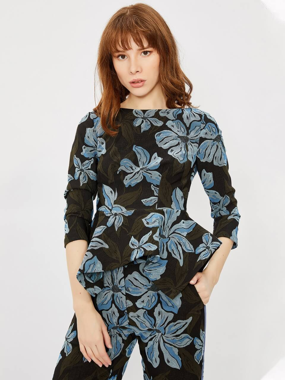Floral Patterned Blouse With Jacquared