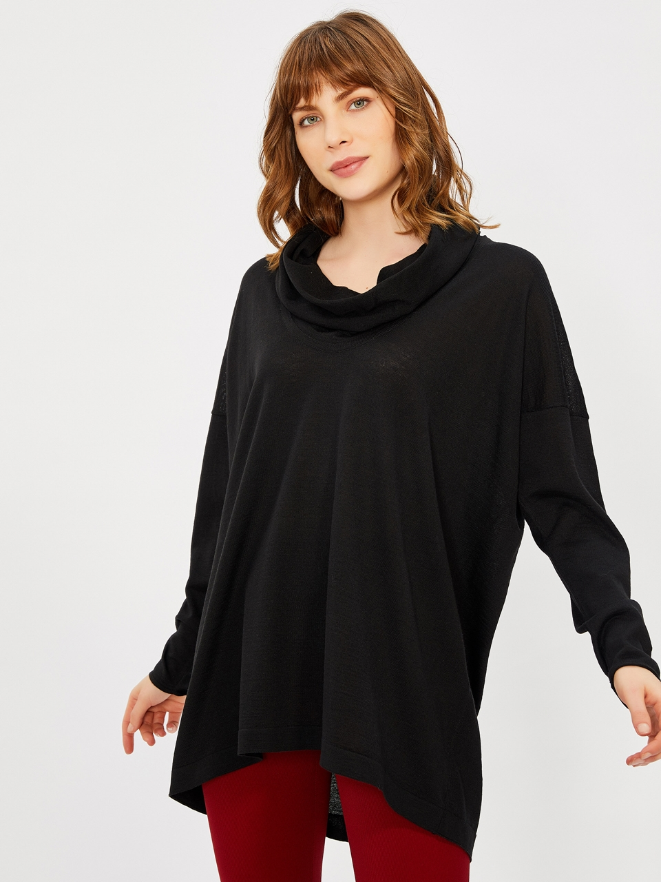 Cowl Neck Merino Wool Blouse