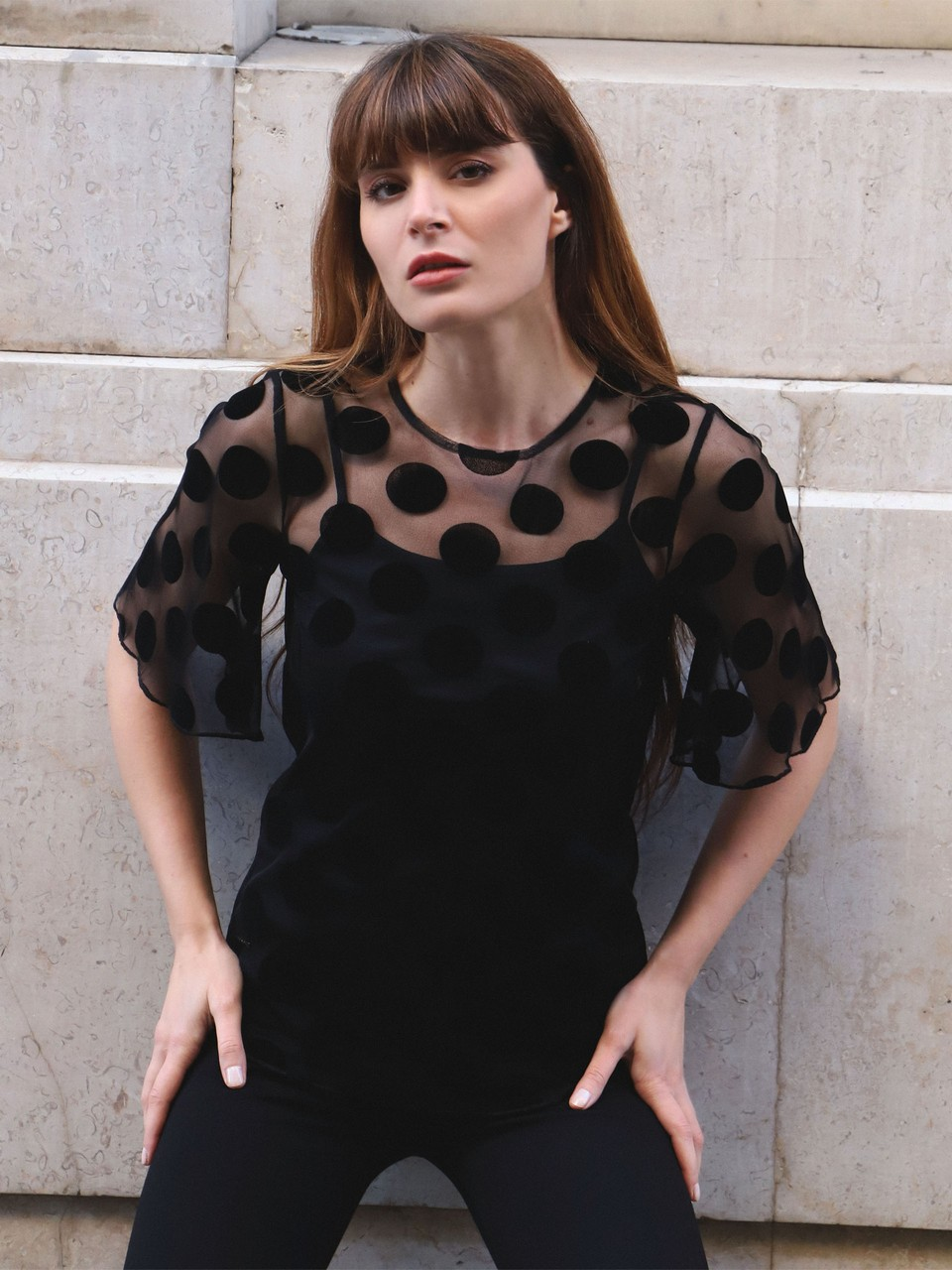 Chiffon Blouse with Polka Dot