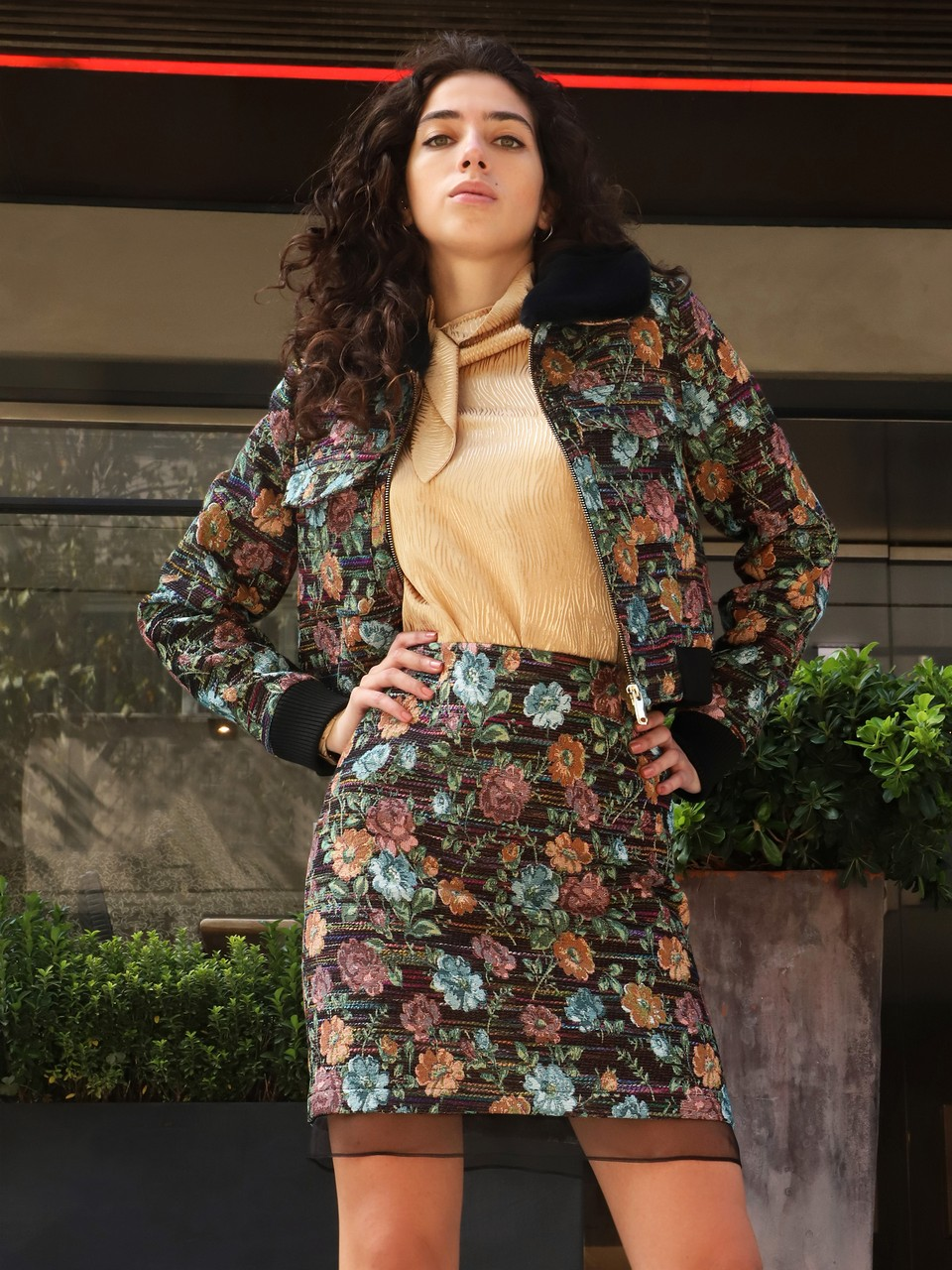 Floral Patterned Organza Detailed Cotton Skirt
