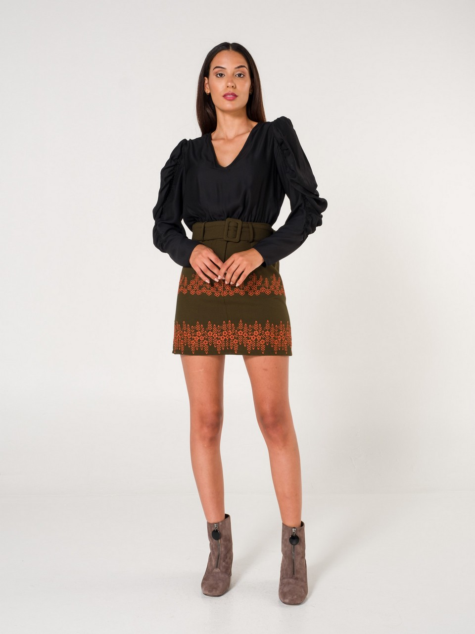 Embroidery Detailed Mini Skirt