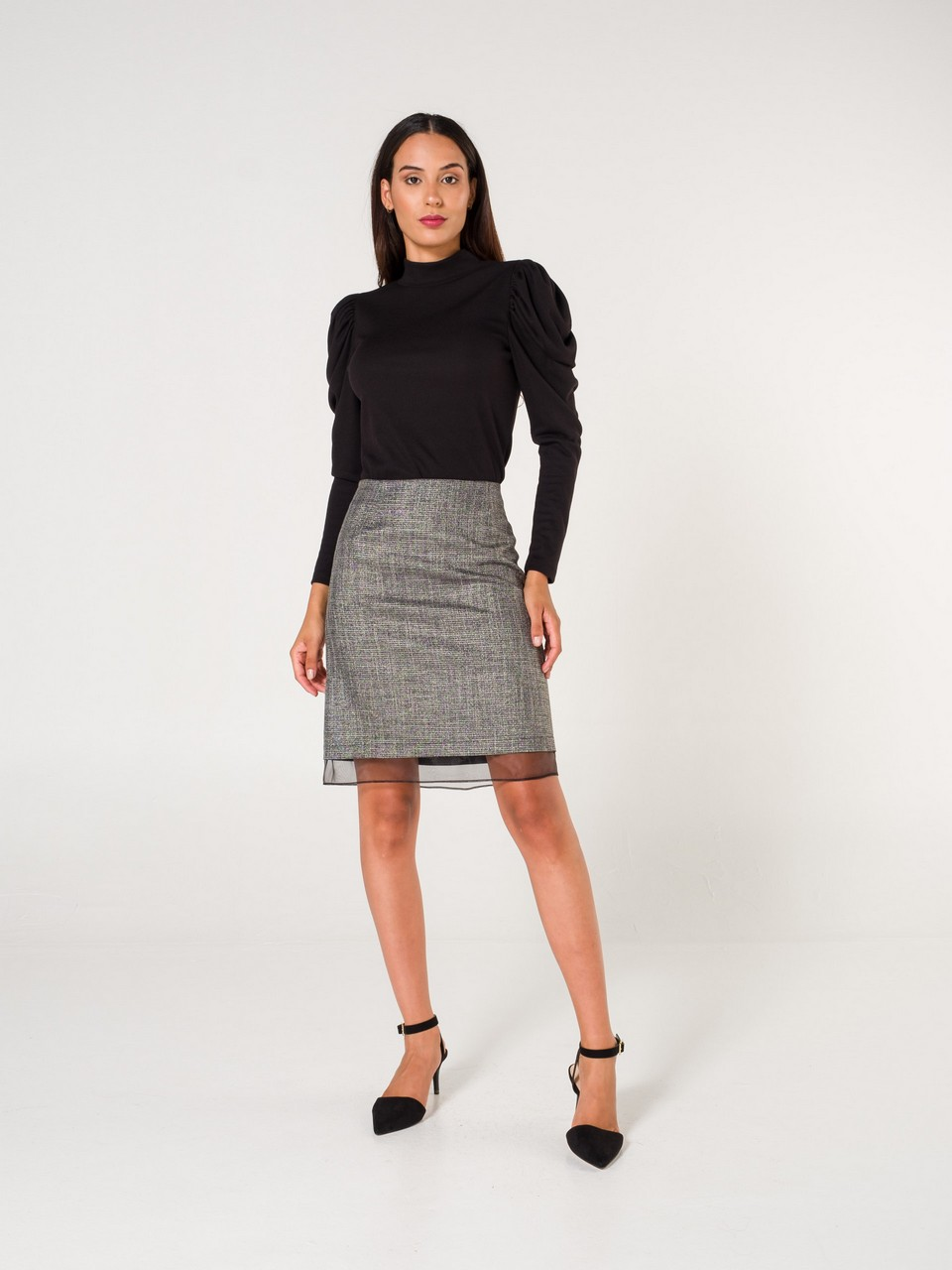 Organza Detailed Skirt With Lurex