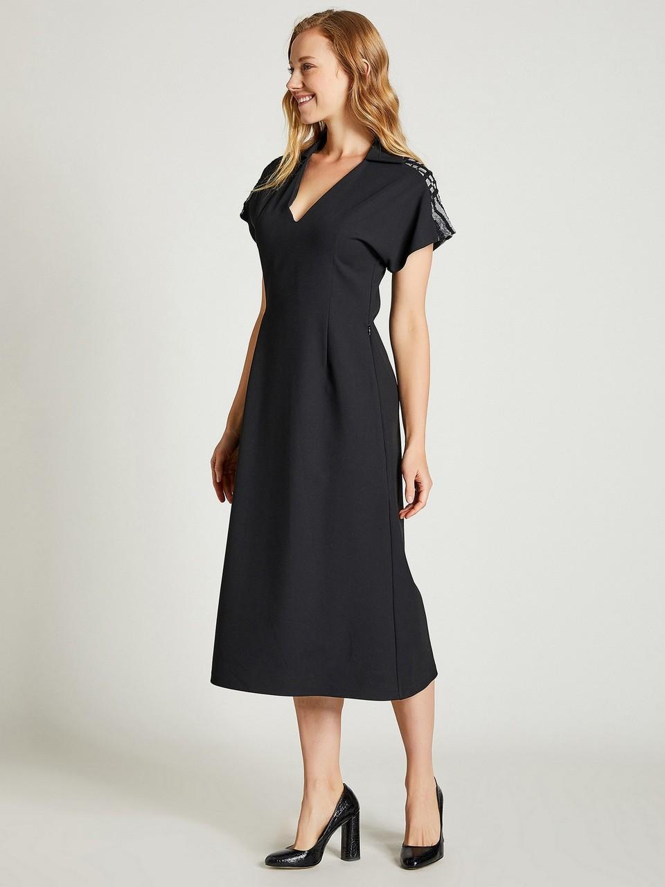 Sim Detaylı V Yaka Midi Elbise