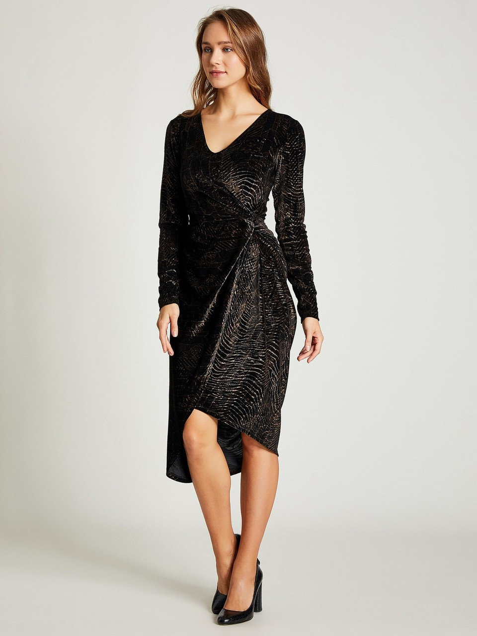 V-Neck Long Sleeve Velvet Dress