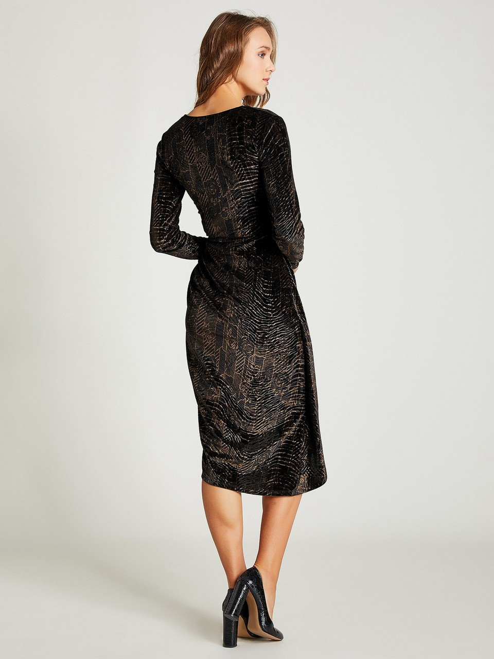 V-Neck Long Sleeve Velvet Dress