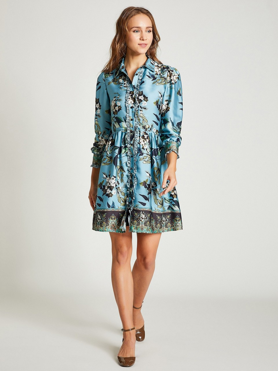 Shirt Neck Floral Patterned Dress