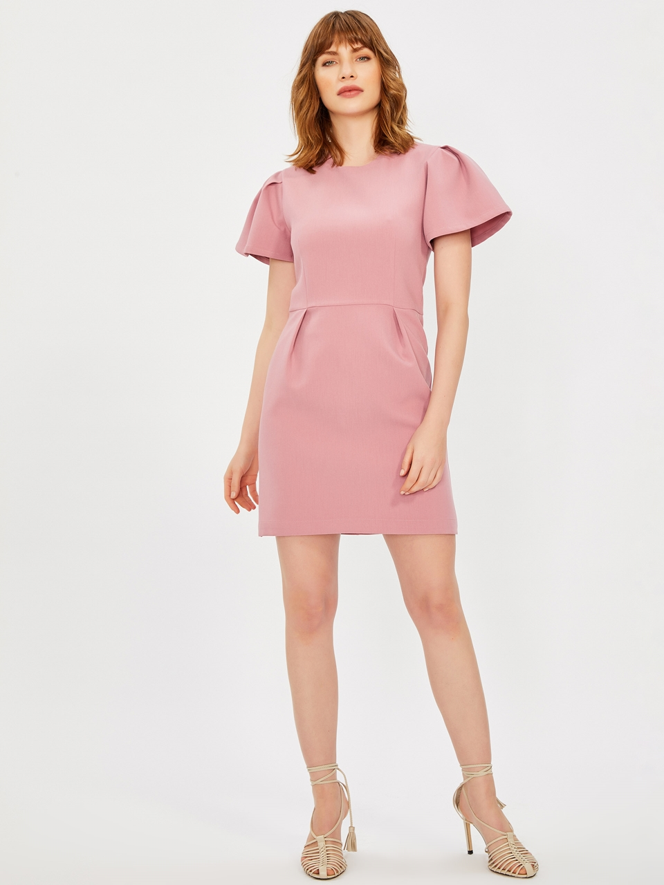 Balon Sleeve Pleated Dress