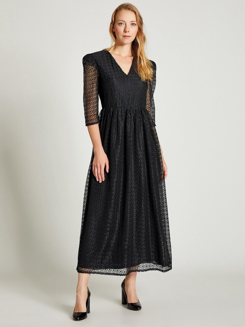 Gathered Waist Lace Dress