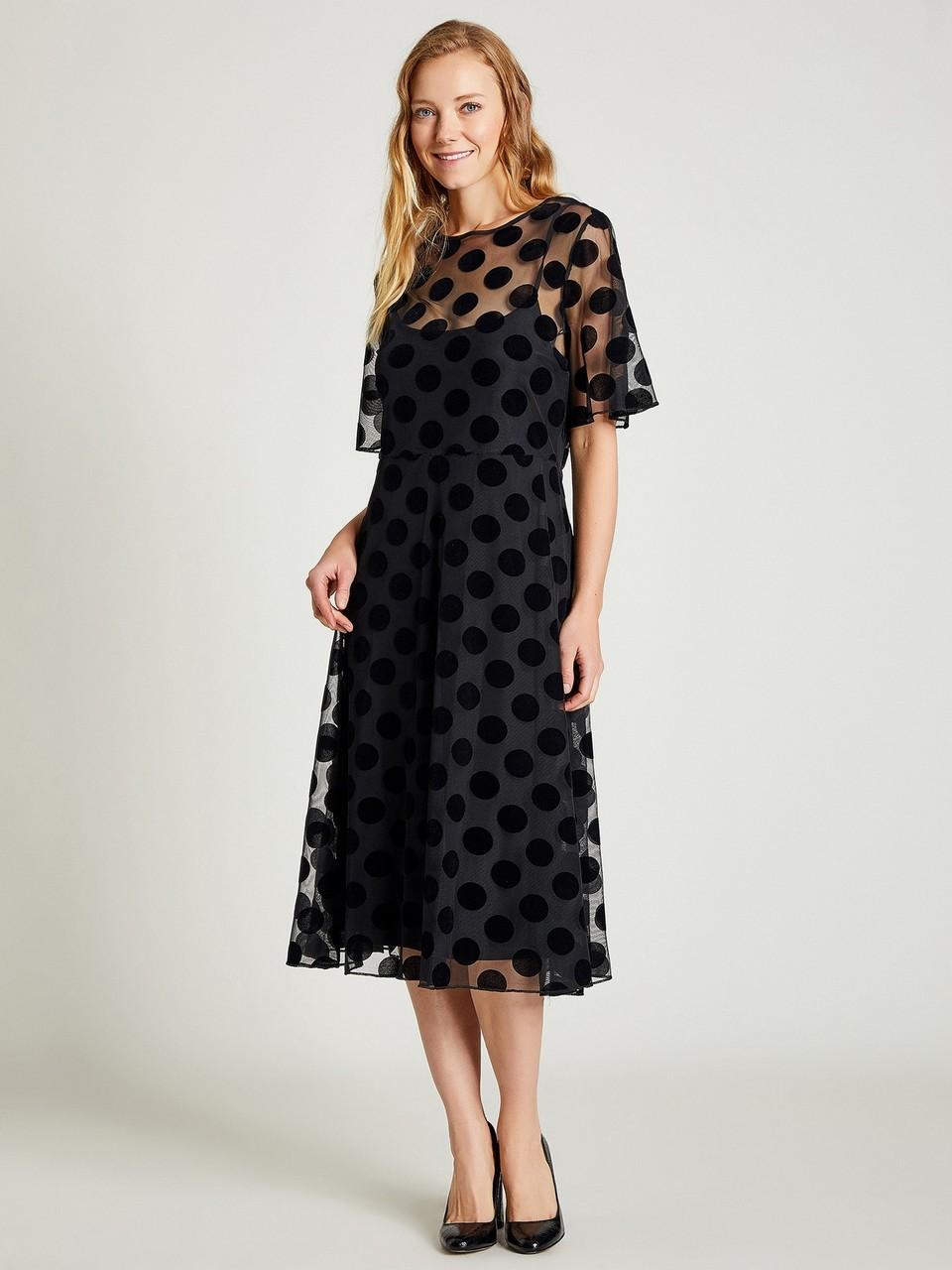 Kadife Puanlı Şifon Elbise
