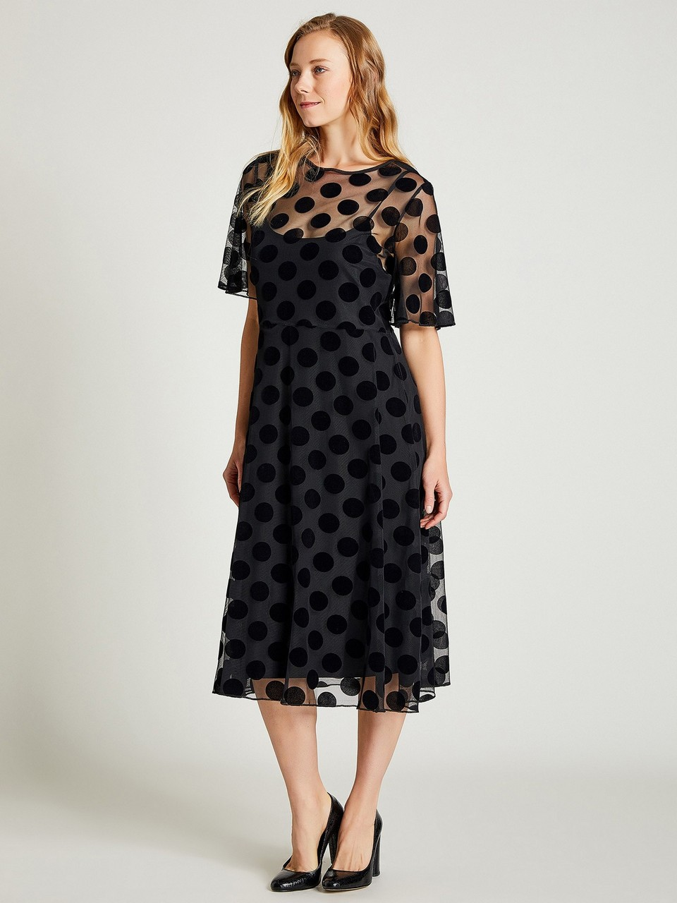 Chiffon Dress with Polka Dot