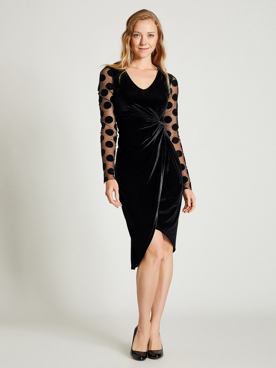 Polka Dot Sleeved Velvet Dress