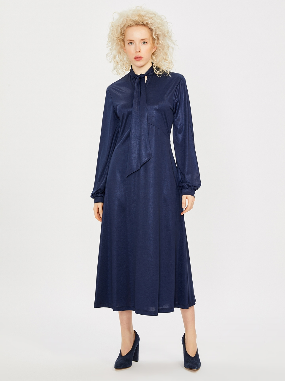 Tie Neck Long Sleeve Maxi Dress