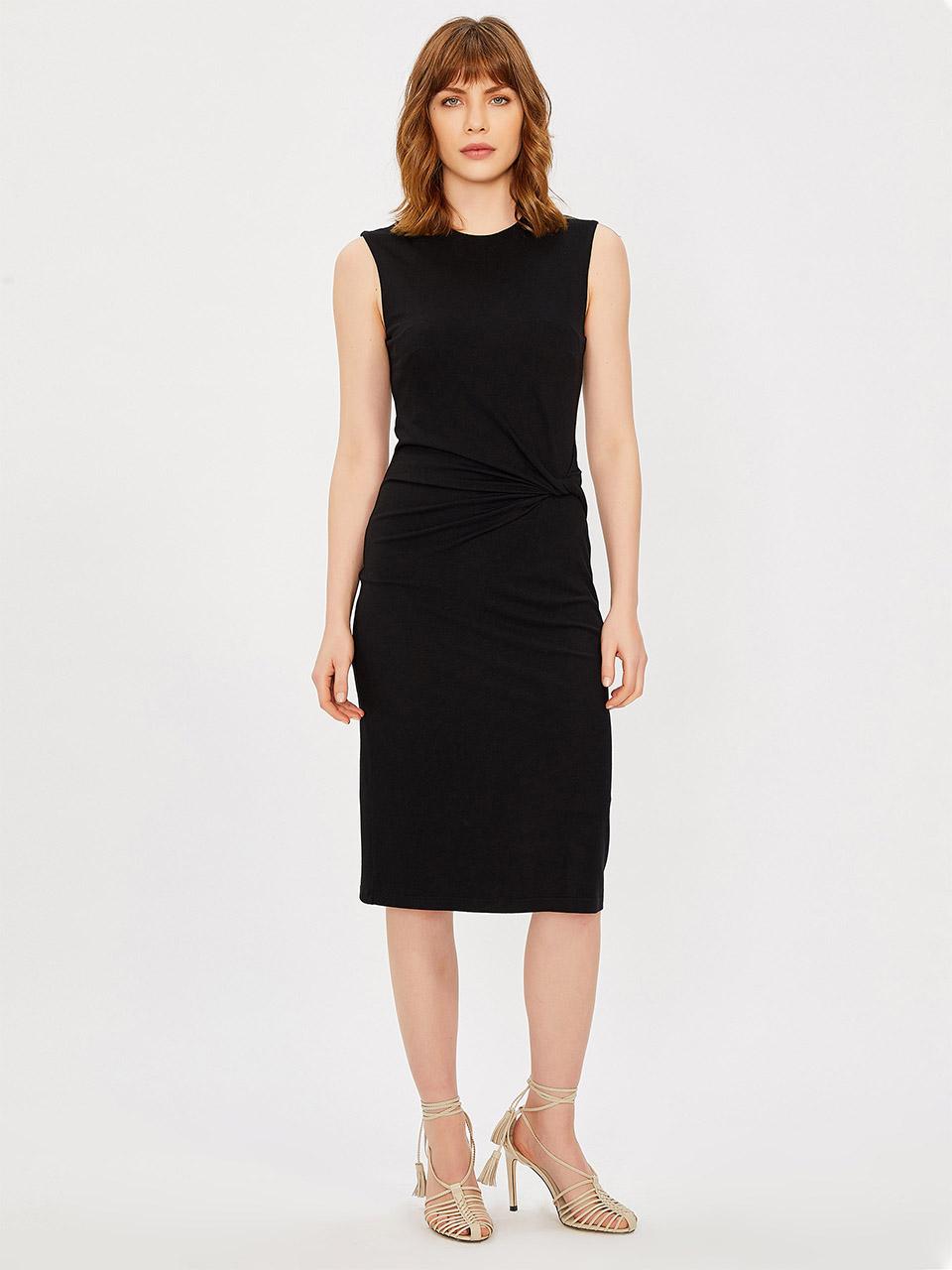 Sıfır Yaka Kolsuz Drape Detaylı Elbise
