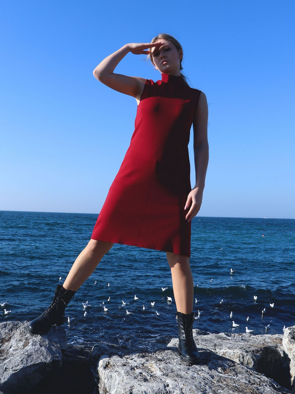 Sleeveless Half Turtleneck Dress