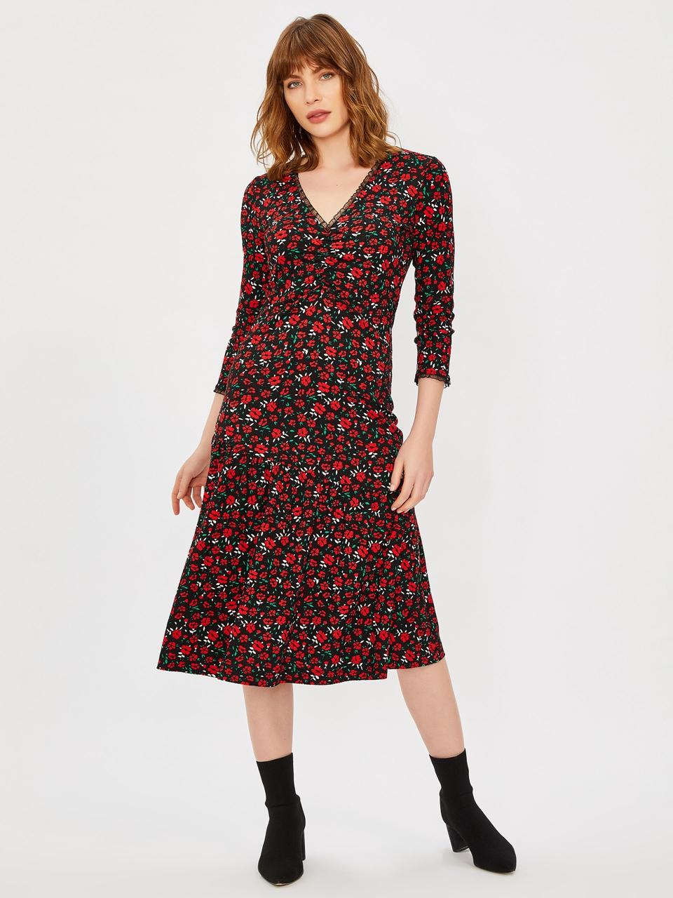 V-Neck Tulle Detail Dress