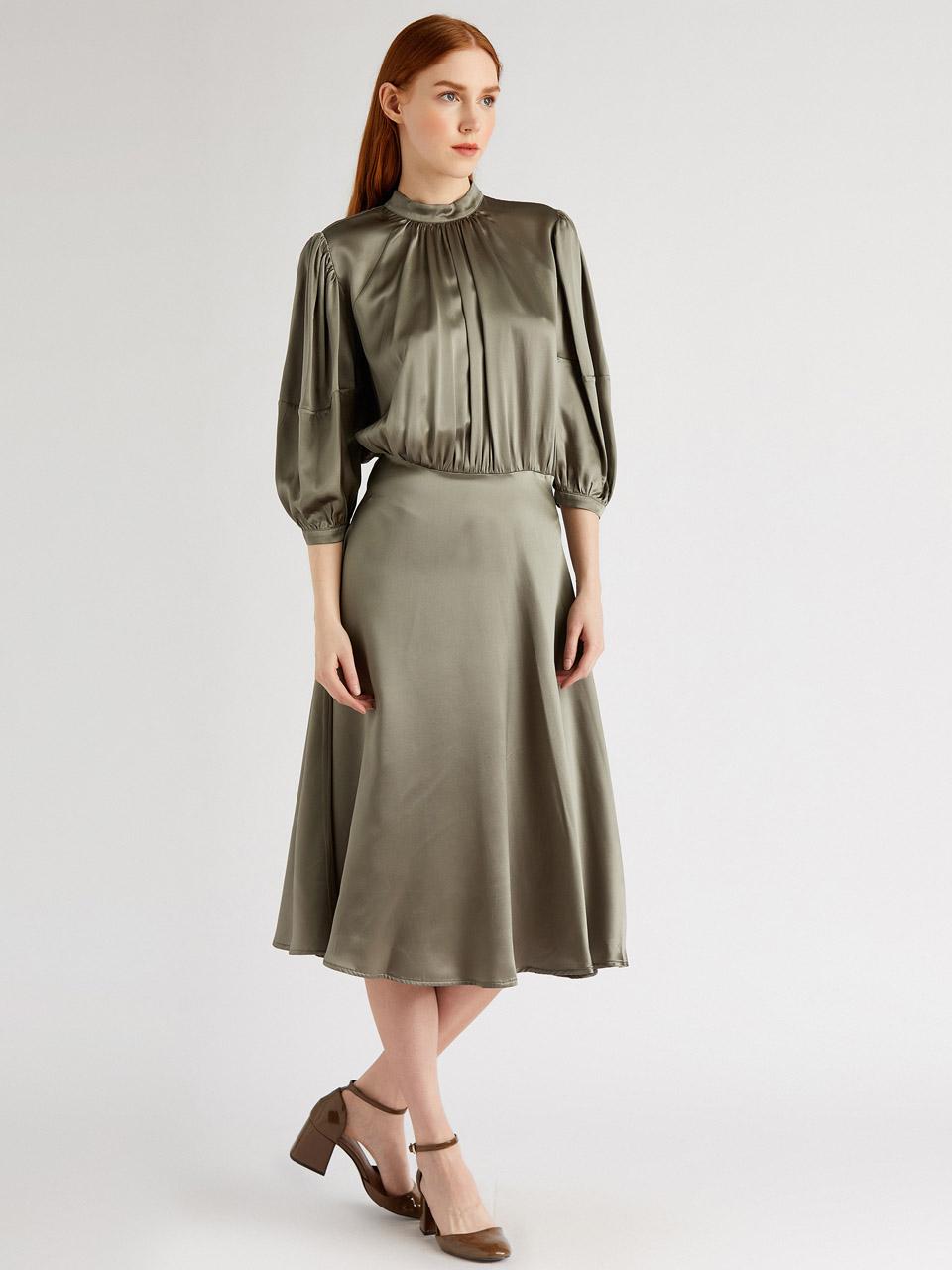 Gathered Detail Satin Dress