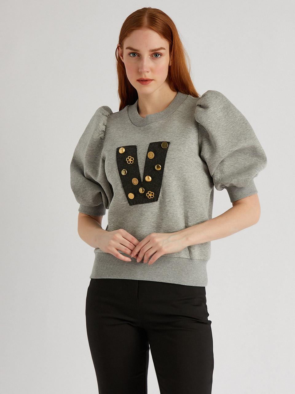 Taş Detaylı Sweatshirt